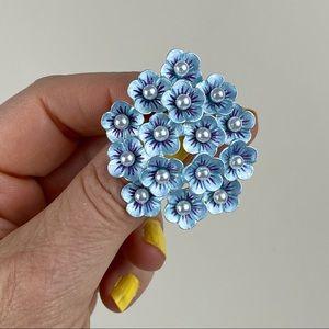 Vintage Faux Pearl Floral Cluster Brooch